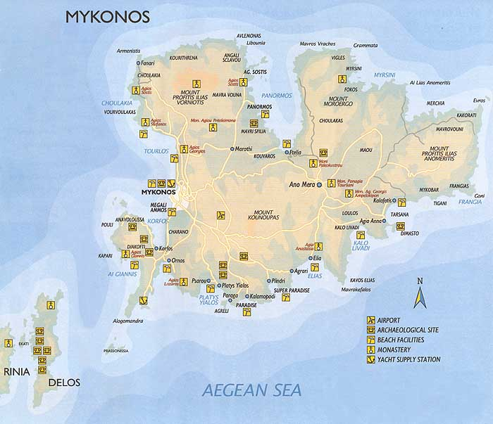 Map of Mykonos island in the Cyclades