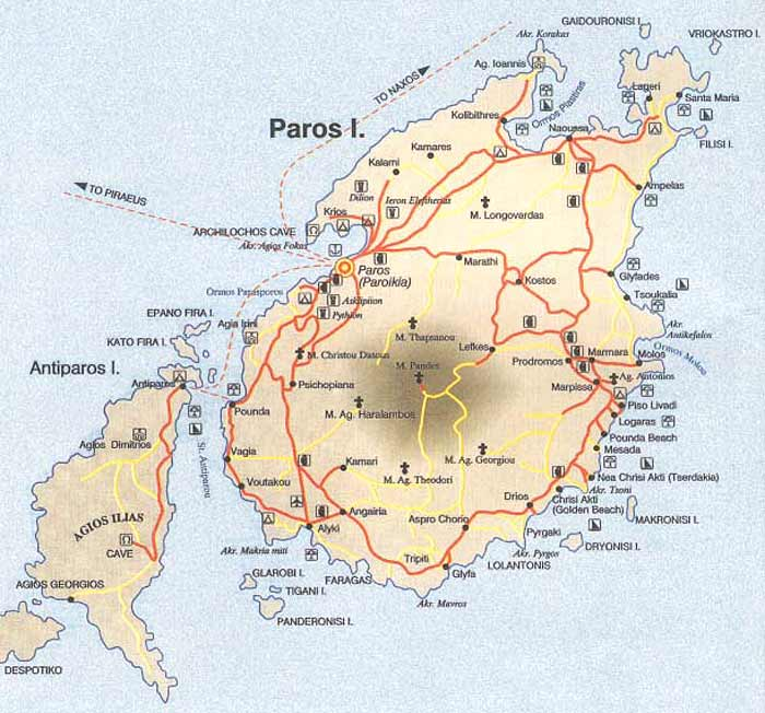 Map of Paros island