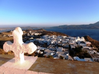 Overview of Plaka village in Milos