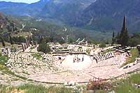 The ancient theater at archeological site of Delphi